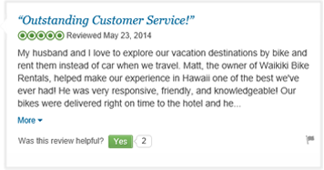 tripadvisor 5 star review for waikiki bike rentals