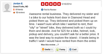 yelp 5 star review for waikiki bike rentals